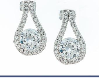CZ Earrings, Bridal Earrings, Wedding Earrings, White Gold Earrings, Bridesmaids Earrings, Silver Earrings, Gemstone Earrings, CZ Jewelry