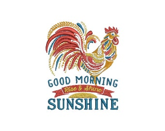 "3.76""T Small - Ornate Rooster - Good Morning Sunshine - Rise & Shine Embroidery Design - Instant Digital Download"