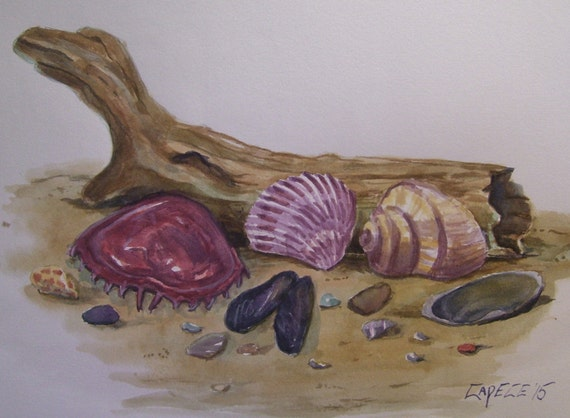 Left in The Sand,16 x 20 Original Watercolor,ONE OF A KIND, Not a Print,Free Shipping Code SKYE2