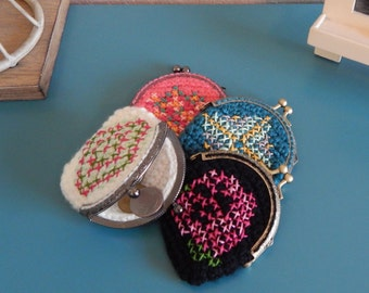 Cross Stitch Coin Purse- Metal Frame Coin Purse