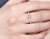 Purple Lollipop Ring, Sterling Silver, Gemstone Ring, Modern Ring, Statement Ring, Genuine CZ Ring, Brushed Ring, Round Ring, Fun Ring