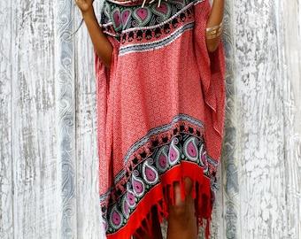 Summer poncho/Tassels poncho/Beach cover up/Resort wear/Boho Poncho * Tulum Poncho