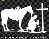 "Small 4 x 6"" Cowboy Cross Vinyl Decal car truck sticker bumper window rodeo western roping cattle ranch calf cowboy"