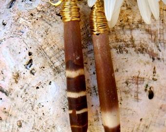 Sea Urchin Spine Earrings -Shell Pendant Earrings -Shell Jewelry -Seashell Earrings -Boho Accessories - Large Urchin Spine Earrings