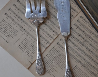 1880s French Silver-Plated Fish Serving Set, Antique Ercuis, Vintage French Kitchen, Flatware, Knife and Fork, Made in France