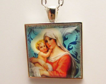 Virgin Mary and Baby Jesus Pendant, Madonna and Child Photo Pendant, Christian Necklace, Christian Art Jewelry, Catholic Art Necklace