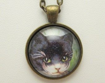 Gentleman Cat Necklace, Cat Glass Necklace, Glass Cat Pendant, Vintage Cat, Necklace, Pendant, Cat Jewelry, Photo Charm, Glass Charm, Cat