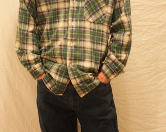 Sale! 1990's Flannel by Klondike, Blue, Green and White