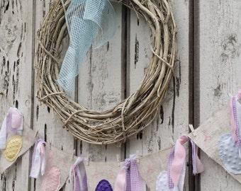 Easter Egg Banner...White Painted Burlap...Chenille Eggs
