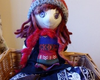 Handmade Hippie Collectable Cloth Rag Art Doll
