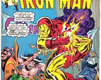 Iron Man 72 comic book. Birthday Party Gift, Avengers member, Tony Stark, The Invincible, Bronze Age art. 1975 Marvel Comics in VF+ (8.5)