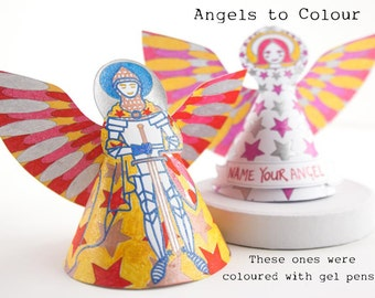 Christmas diy Angels, print, color and make, paper craft festive activity with name label, Man and lady Angel table top or tree decoration