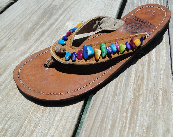 FREE SHIPPING - Handcrafted Beaded Leather Sandals from Honduras - Fair Trade - Brown Leather Beaded Flip Flops