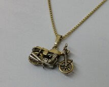 925 motorcycle part gold plated pendant SK706