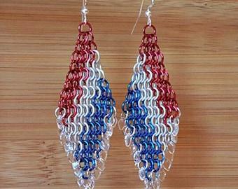 Chain maille Earrings, Chainmail, Red White Blue Earrings, Flag Earrings, Diamond Shape, Czech Beads, Dangle Earrings, Political Earrings,