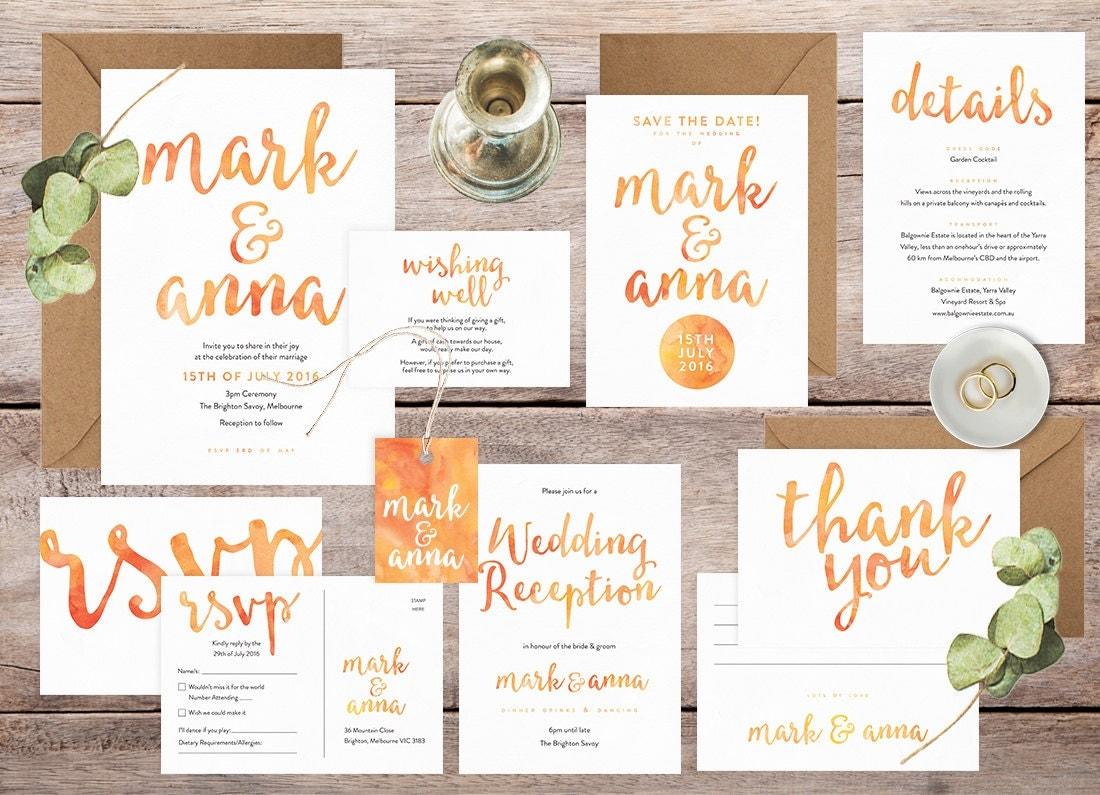 Wedding invitation set, Summer wedding, Wedding invitation printable, Wedding stationery set, Wedding RSVP postcard, Wedding details card