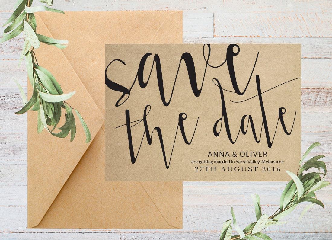 Rustic save the date rustic, Kraft paper wedding stationery, Printable save the date printable, Save the date cards, Wedding save the date,