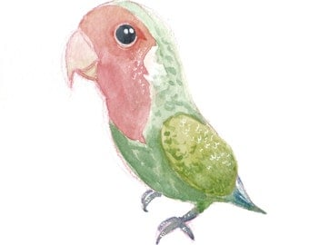 "Lovebird in Watercolor 6x6"" [Original Painting]"
