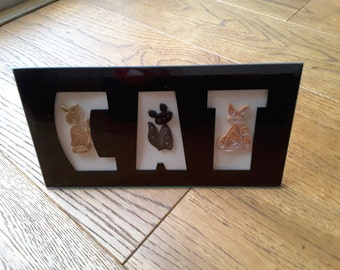 Quilled cats in cat frame