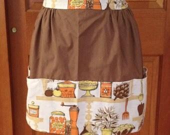 Vintage Kitchen Apron, Teen Size Apron, Small Womans Apron, Fall Color Apron, Vintage Apron