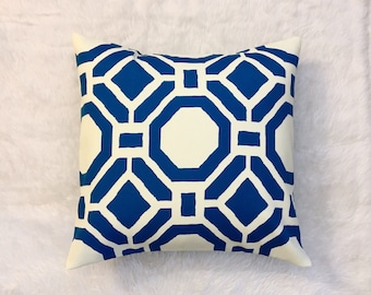 SALE Blue Geometric Outdoor Pillow Cover | Cushion Cover | Throw Pillow Cover | Decorative Pillow | Cover Envelope Closure