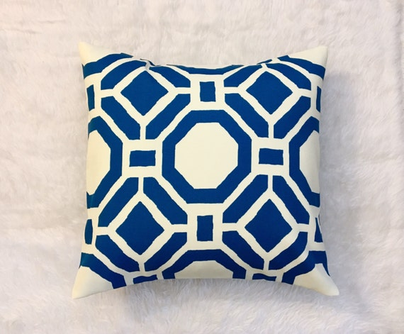 Items similar to SALE Blue Geometric Outdoor Pillow Cover Cushion Cover Throw Pillow Cover ...