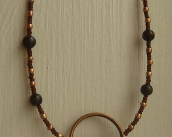 Brown and Bronze Circle Necklace