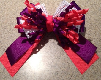 Coral and Royal Purple Korker Hairbow