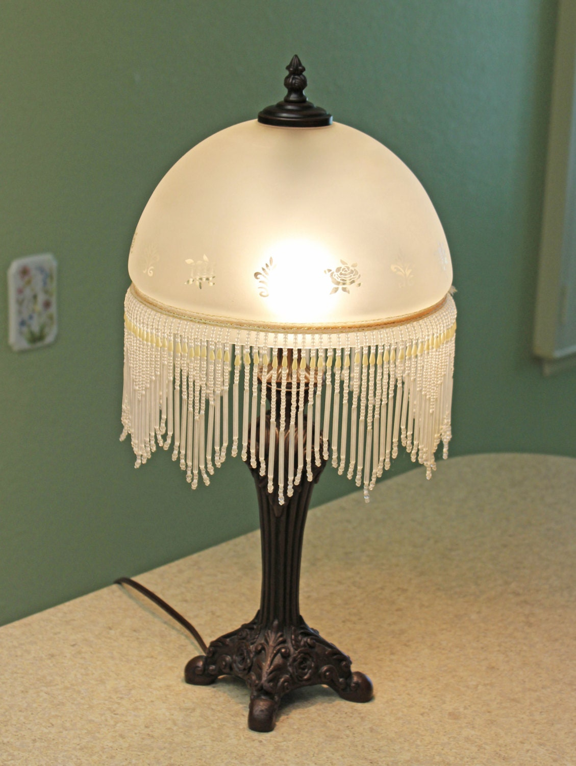 Victorian Boudoir Lamp By Cheyenne Frosted Glass Dome Shade