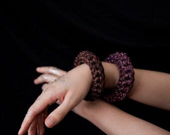 The Bang! Recycled Shiny Lurex Bracelet, Soft Textile Crochet Bangle NODO