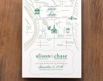 Map of Philadelphia, Save the Date, Announcement, Engagement, Philadelphia, Map, Philadelphia-Themed Wedding