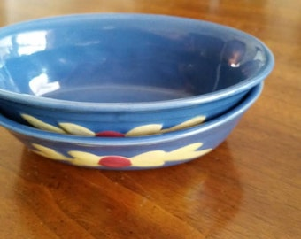 Reduced Small Deep Oval Baker in Rosebud by Coors Pottery USA Pottery Colorado