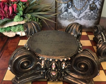 "11"" x 11"" Decorative Embellished Large BRONZE Scroll Candle Holder with Bling - Free Shipping"