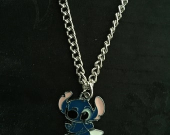 Silver Plated Lilo and Stitch Surfboard Necklace