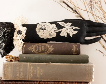 Victorian mourning wall art, hand soft sculpture textile art piece, dark art, gothic art, witchy wall hanging: The Widow's Hand