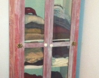 armoire red with white distressed,  refurbished, use as dresser or cabinet, wood, glass , shelves shabby chic,  cabinet 25.5 L x 17 D x 61 H