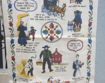 Vintage Tea Towel Distelfink Amish R. Batchelder Pennsylvania Dutch Textile Old Sayings Quaint Folk Colorful Linen Collector Item Fun Gift