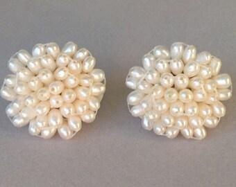 Freshwater Seed Pearl Clip On Earrings