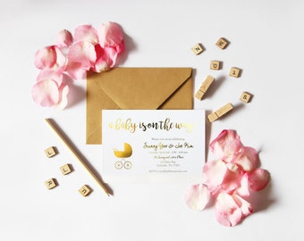 Pretty and Chic Gold Foil Handmade Baby Shower Invite