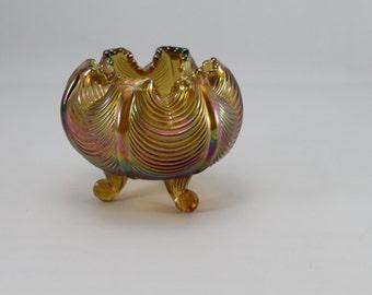 Fenton Amber Carnival Glass Candy Dish