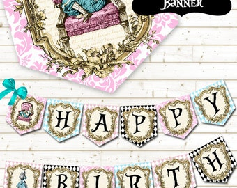 Alice in Wonderland Party Banner - Printable Party Banner - Alice in Wonderland Party - Happy Birthday Banner - Printable Party Decorations