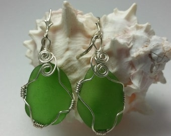 Green Sea Glass Earrings, Sea Glass Jewelry, Green Sea Glass Sterling Silver Earrings, Kelly Green Sea Glass Earrings, Handmade Jewelry