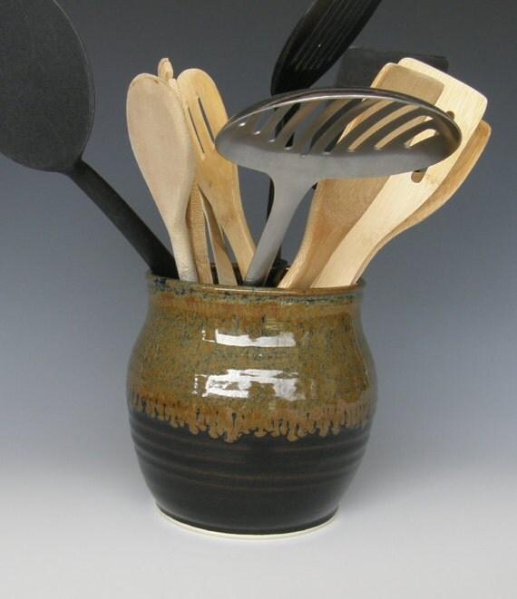 Utensil Holder Stoneware Pottery By Wallflowerpotterycb On Etsy