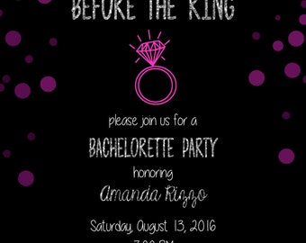 Bachelorette Party Invite-Last Fling Before the Ring!-Printable Invitation-Blue and Pink-Gold and Silver