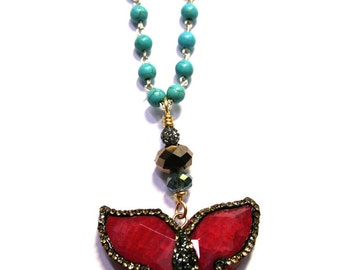 Red Agate Butterfly Pendant on a Blue Turquoise Beaded Necklace,agate butterfly,red butterfly pendant,stone butterfly pendant,