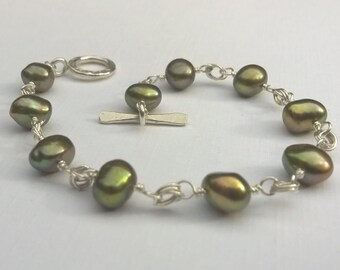 Wire Wrap, Golden Green Freshwater Pearl, Chain Link, Hill Tribe and Sterling Silver Bracelet, Toggle Clasp
