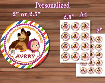 Masha and the Bear Stickers, Birthday Party Thank you, Personalized Stickers, PDF