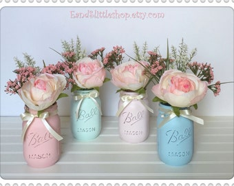 Baby Shower Mason Jar Set Easter Decor Spring Shabby Chic