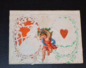 Antique Victorian Paper Lace Valentine Card Wood Printing