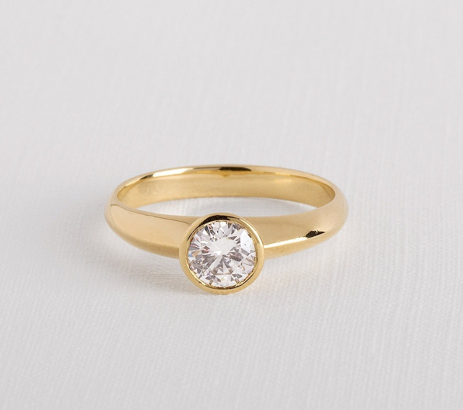 simple diamond ring simple engagement ring by RimonFineJewelry